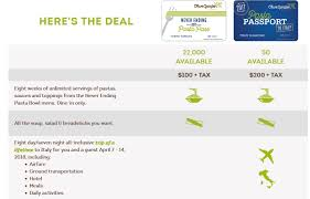Olive Garden Family Of Restaurants Deal Olive Garden Pasta Pass Trip To Italy For 2 Only 200
