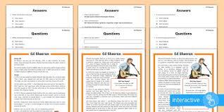 ed sheeran biography pdf ks2 ed sheeran differentiated comprehension worksheet activity