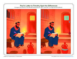 Paul U0027s Letter To Timothy Spot The Difference Bible Activity