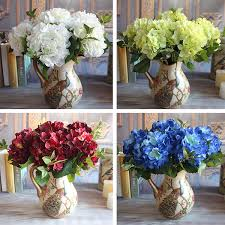 bulk hydrangeas 1 bouquet artificial silk peony flower wine floral