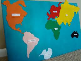 Seven Continents Map Raccoon Felt Continent Map