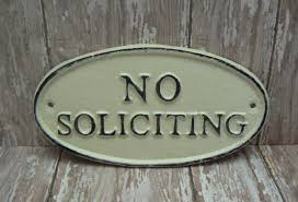 no soliciting cast iron sign shabby chic off white wall door home
