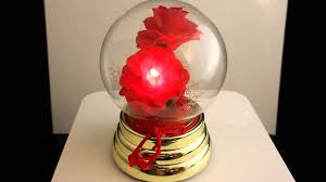 vintage musical animated blooming rose glass globe ball lights up