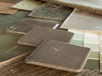 light green subdued paint color and fabric swatches floral