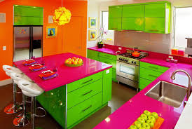 kitchen small colorful kitchen design green kitchen island with small colorful kitchen design green kitchen island with cabinet and pink countertop also small white stools including orange accent wall plus white wall