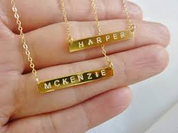 real gold nameplate necklace initial bar necklace bar initial necklace personalized bar necklace