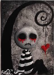 aceo dark punk emo stripes spooky halloween ugly cute heart