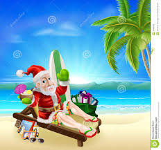 christmas santa tropical beach scene royalty free stock images