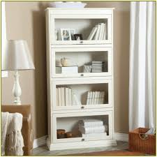 Glass Door Bookshelves by White Bookcase With Glass Door For Elgant Interior With Sheer