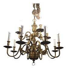ethan allen twelve light brass chandelier chairish