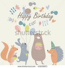 birthday card cute squirrel bunny bear stock vector 428208973