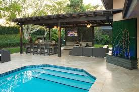 unique backyard designs with pool and outdoor kitchen with