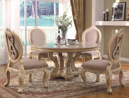 Glass Round Dining Table For 6 Furniture Carved Cream Wooden Round Dining Table Set With Marble