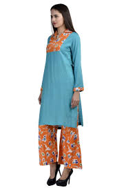 orange and blue combination buy sky blue kurti u0026 orange plazo combo by esmartdeals online