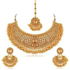 set of gold buy apara bridal gold plated pearl lct stones necklace set for