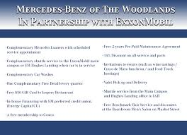 mercedes service offers exxonmobil exclusive offers mercedes of the woodlands