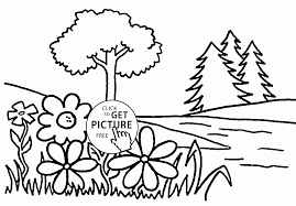 river spring coloring page for kids seasons coloring pages