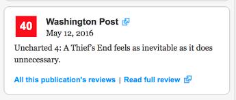 Seeking Metacritic Uncharted 4 Metacritic And The Washington Post The Luxury Of
