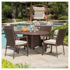 Rattan Patio Dining Set Palmers 5pc Wicker Patio Dining Set With Cushions Brown