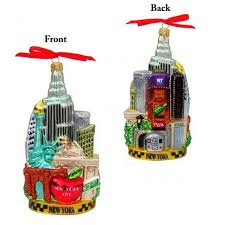 new york city scape glass ornament and city