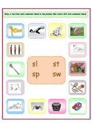 english worksheets 4 consonant blends sl st sp sw