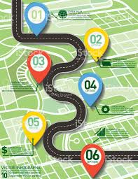 Eros Map Stylish Roads Timeline Infographic On A City Map Background Stock