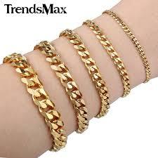 mens gold bracelet links images Trendsmax 18cm 20cm womens mens bracelet stainless steel jewelry jpg