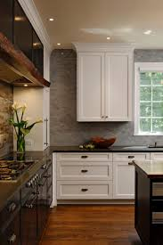rustic modern kitchen ceramic countertop gas range hood cailing light top