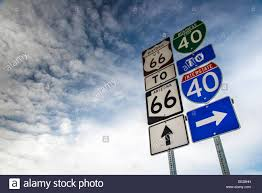 us route 66 arizona map u s route 66 and interstate 40 vertical road signs arizona usa