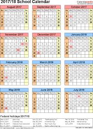 school calendars 2017 2018 as free printable excel templates