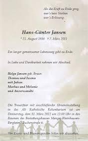 Anzeige für Hans-Günter Jansen - 110059