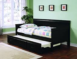Black Daybed With Trundle Coaster Traditional Style Black Finish Daybed With
