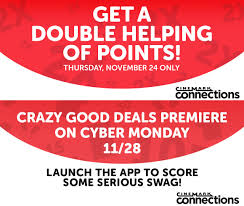 thanksgiving app cinemark loyalty program members receive a double helping of