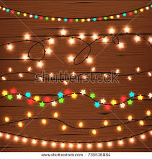 string lights on wooden wall stock vector 735536884 shutterstock