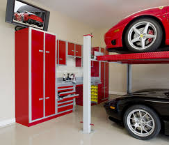 luxury garage idea with double deck design tv idea and glossy red