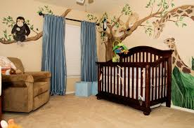 Jungle Curtains For Nursery Wall Themes With Animal Paint And Blue Curtains Combined By