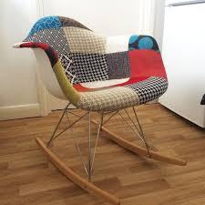 Eames Style Rar Molded Black Eames Style Rar Rocker Rocking Chair Patchwork Fabric In Hastac 2011