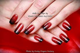 gelish red and black nails funky fingers factory