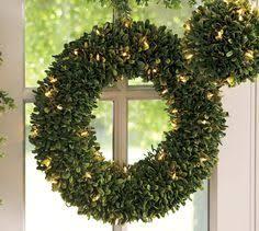 indoor outdoor lit boxwood wreath potterybarn