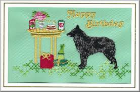 belgian sheepdog uk belgian shepherd dog birthday card embroidered by dogmania 8 x6 g5665