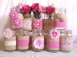 jar baby shower burlap and lace jar centerpieces 3 pink burlap and lace