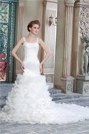 Wedding Dress With Train Organza Layered Wedding Gown Wedding Gown With Train Spaghetti