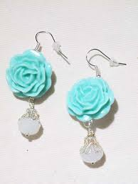 drop bead aqua resin bead drop earrings blue velvet vintage