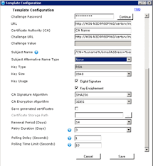 configuring a certificate template on the cloud extender