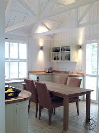 exposed rafter ceiling insulation architecture kitchen interior