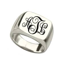 rings with initials silver monogram square ring personalized initials ring engraved