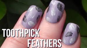 super easy feathers toothpick nail art arcadianailart youtube
