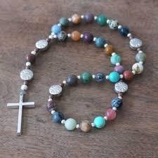 christian rosary christian rosary colorful mix of gemstone handmade by holyrocks