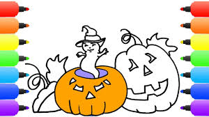 how to draw halloween pumpkin face kids songs learn drawing