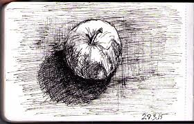 drawing of an apple in ballpoint pen one drawing daily